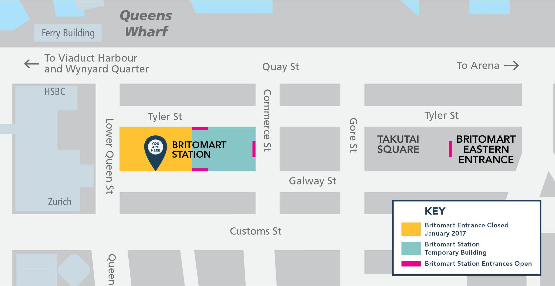 Britomart station changes heart of the city business alongside the commercial bay works this area will be a busier construction site starting 2017 however pedestrian access on lower queen plaza from quay malvernweather Choice Image