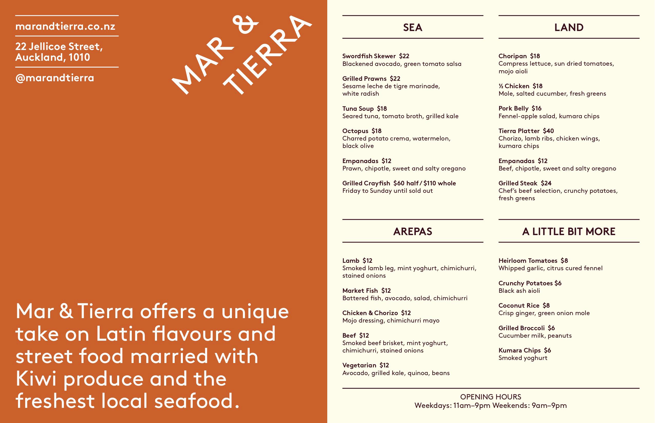 Mar & Tierra Auckland Fish Market menu