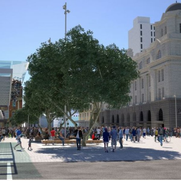 Artist's impression of the Lower Queen Street square, looking north to the Ferry building. Image: cityraillink.co.nz.