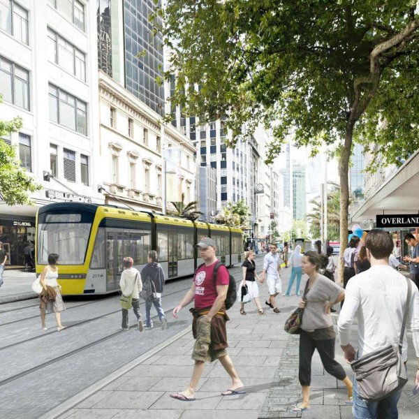 Artist's impression of Light Rail on Queen Street. Image: Auckland Transport.