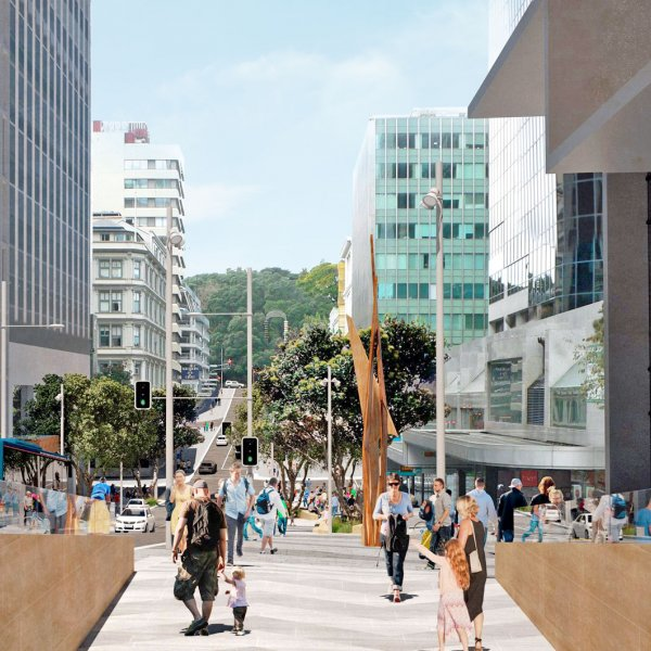 Artist's impression of Aotea station entrance on Victoria Street, part of the linear park. Image: cityraillink.co.nz