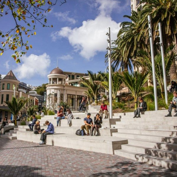 People enjoying the sun in the redeveloped Freyberg Place in Auckland's city centre. Image: Sacha Stejko.