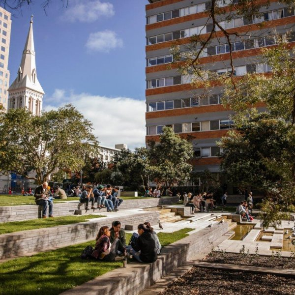 People enjoying lunch and each others' company at lunchtime in St Patrick's Square in Auckland's city centre. Image: Sacha Stejko.