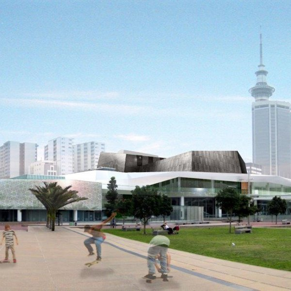 Artist's impression of the updated Aotea Centre exterior. Image: RFA.