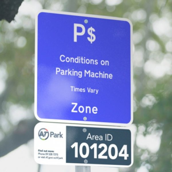 Auckland Transport parking sign in front of trees in Auckland City Centre