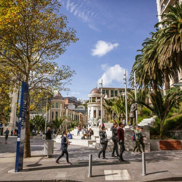 People walking on High Street in front of Freyberg Place in Auckland's city centre. Image: Sacha Stejko