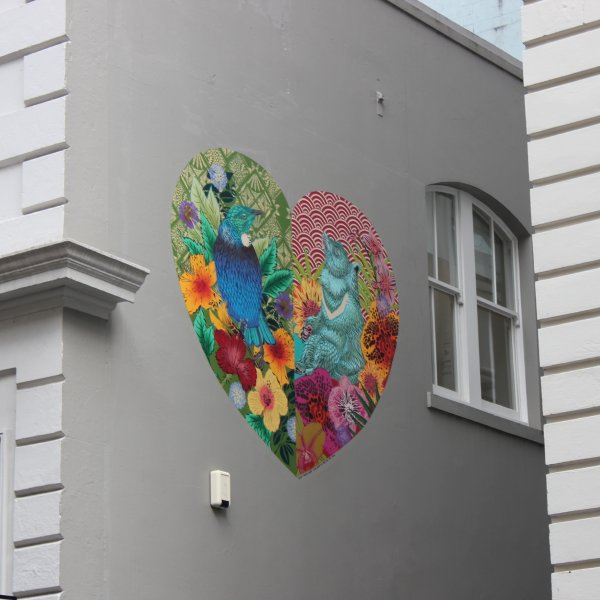 East meets West, Flox for Hearts of the City in Lorne Street, Auckland's city centre. Image: Heart of the City