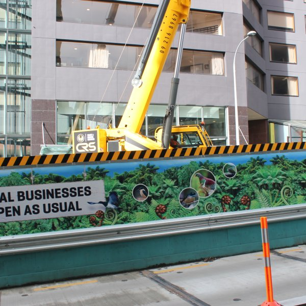 City Rail Link 'businesses open as usual' hoardings on Albert Street, August 2018. Image: Heart of the City