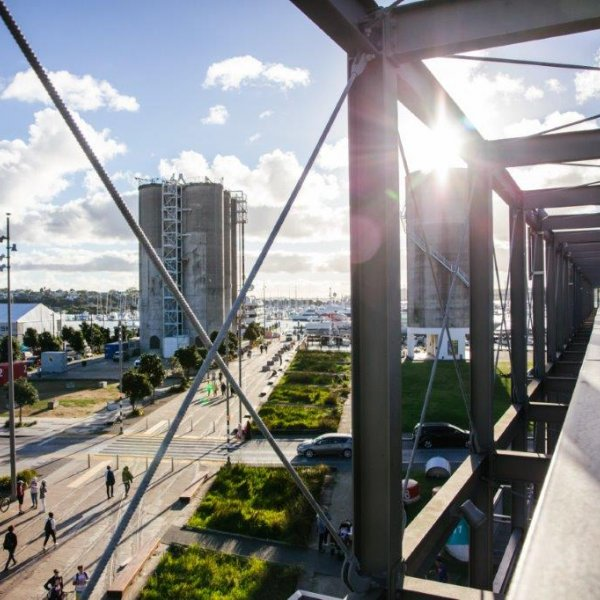 View from gantry at Silo Park, Wynyard Quarter in Auckland's city centre, looking west across Westhaven Marina. Image: Sacha Stejko.