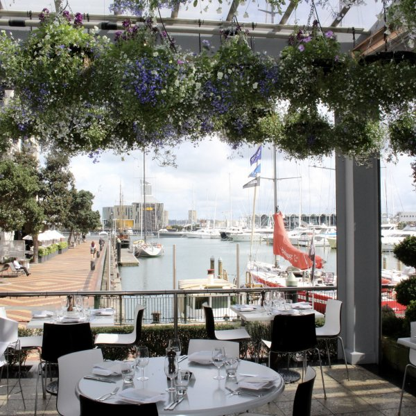 The view from Soul Bar and Bistro to the Viaduct Harbour, Auckland's city centre.
