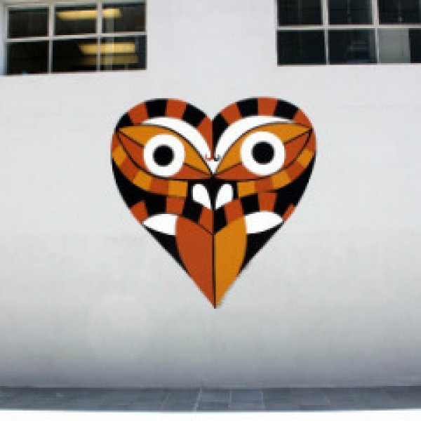 Downtown Tiki by Dick Frizzell for Hearts of the City. Jellicoe Lane, Wynyard Quarter, Auckland's city centre.