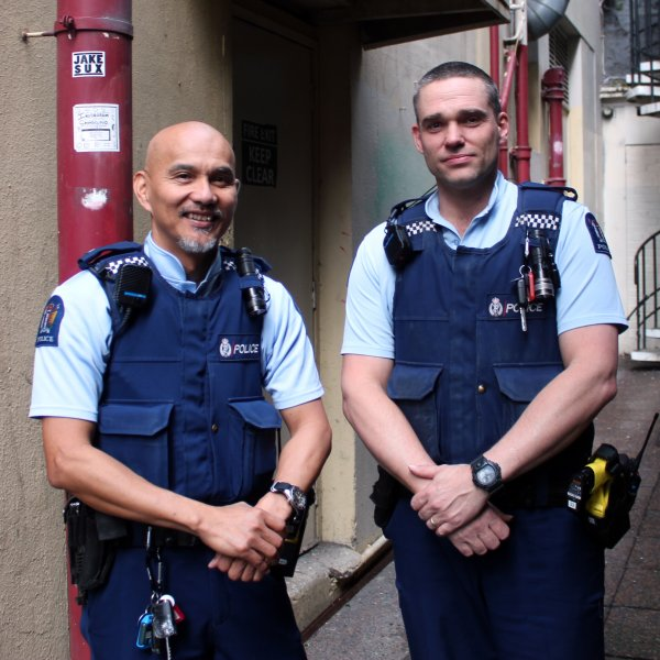 Constables Ding Capunitan and Will Kerr in Exchange Lane in Auckland's city centre. Image: Heart of the City