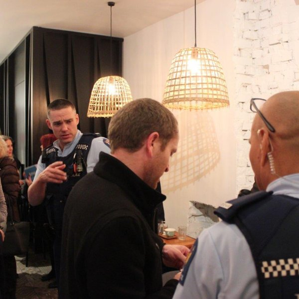 Police and city centre business people at Heart of the City's safety meetup, September 2018. Image: Heart of the City