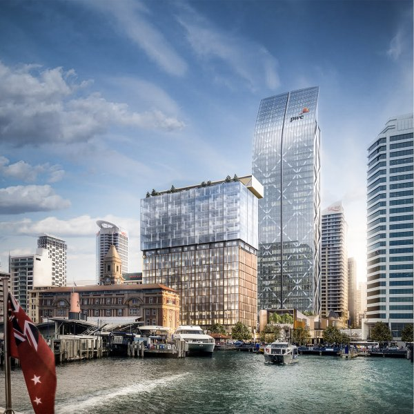 Artist's impression of One Queen Street viewed from the Waitemata Harbour. Image: Precinct Properties