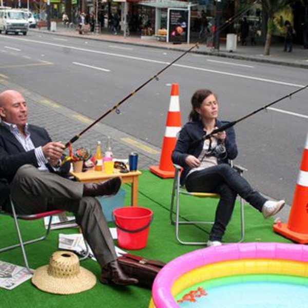 Ludo Campbell Reid and Natalie Donze, Park(ing) Day 2009 in Auckland's city centre.
