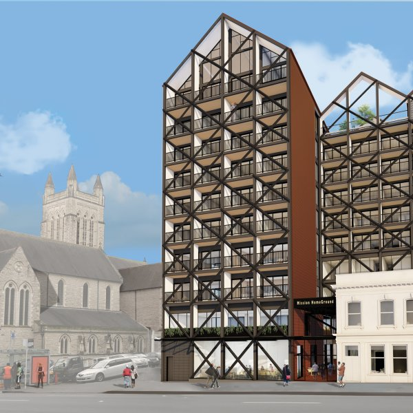 Mission HomeGround, artist's impression from Hobson Street in Auckland's city centre. Image: Auckland City Mission.