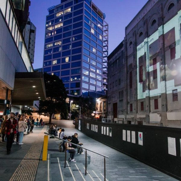 Late Night Art in the city centre 2018 at Auckland Central Library. Image: Sacha Stejko