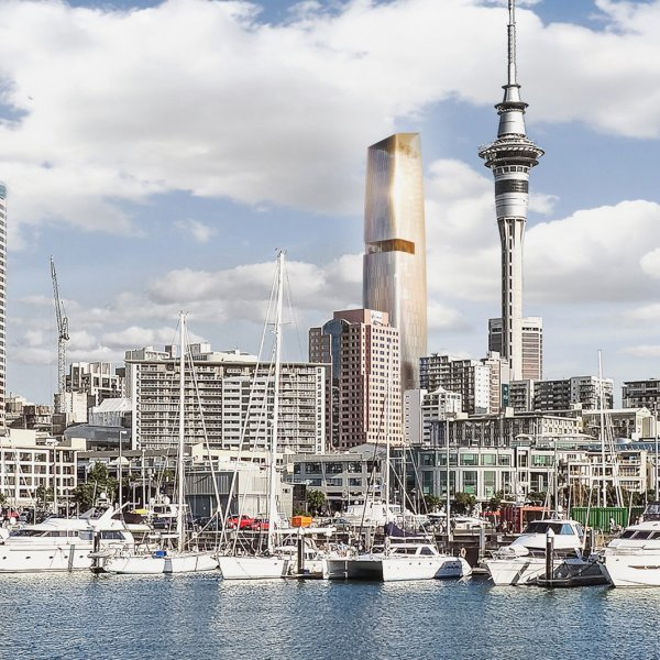 Artist's impression of proposed 65 Federal Street tower in Auckland's city centre, view from Waitemata Harbour. Image: ICD/Woods Bagot