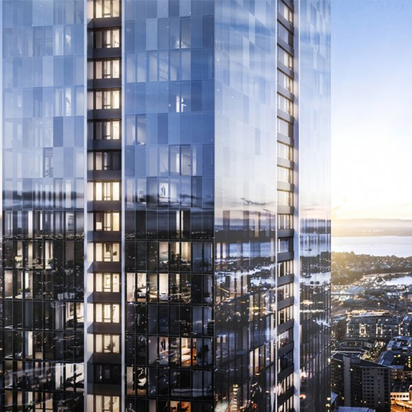 An artist's impression of The Pacifica with the Sky Tower in background, Auckland's city centre. Image: The Pacifica