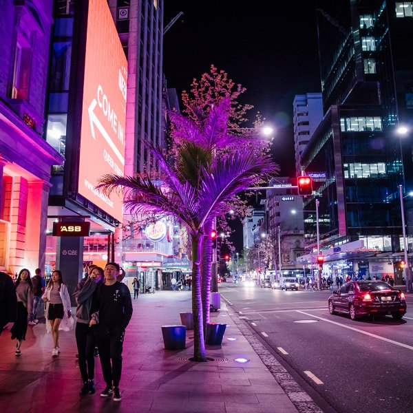 Queen Street lights outside 125 Queen Street. Image: Sacha Stejko