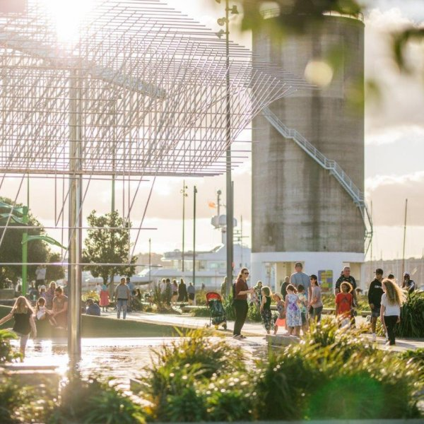 Silo Park in Auckland's city centre with Wind Tree by Michio Ihara in foreground. Image: Sacha Stejko