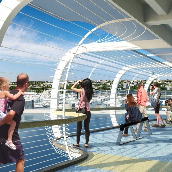 Artist's impression of the observation deck view from SkyPath, connecting Auckland's city centre to the North Shore. Image: SkyPath