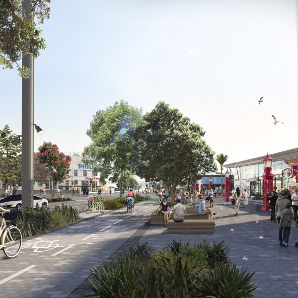 Artist's impression - Quay Street separated cycle lanes, seating and wide footpaths. Image: Auckland Council