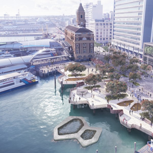 Artist's impression - new Downtown Public Space in the Ferry Basin area between Princes and Queens Wharves in Auckland's city centre downtown area. Image: Auckland Council