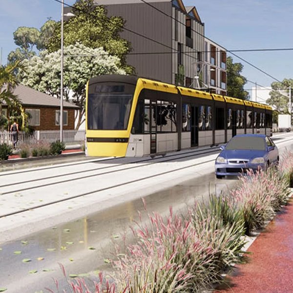 An artist's impression of a Modern Tram at street level, travelling along a suburban street with a cyclist and a car on either side. Image: Auckland Light Rail