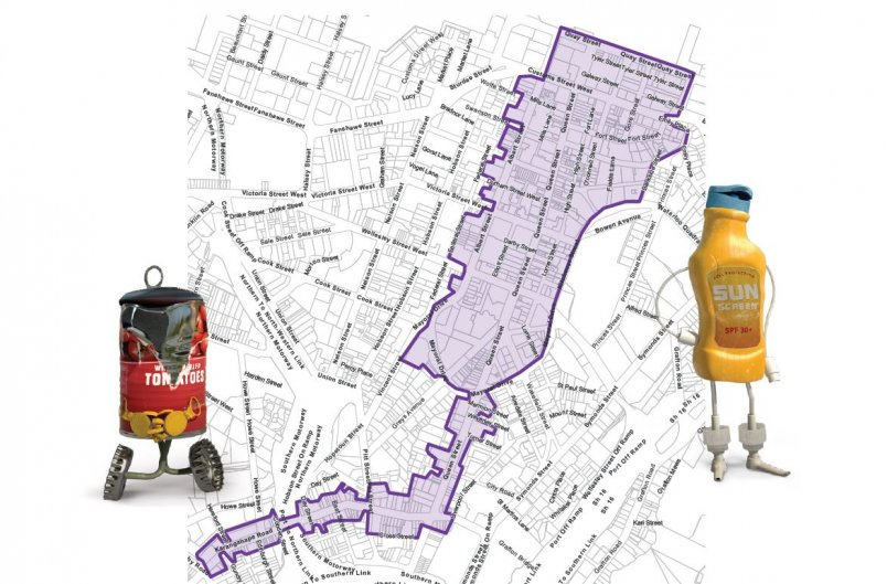 Auckland Council inner CBD kerbside rubbish and recycling collection zone. Image: Auckland Council.