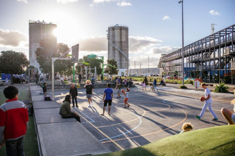 People playing basketball at Silo Park, Wynyard Quarter in Auckland's city centre. Image: Sacha Stejko.