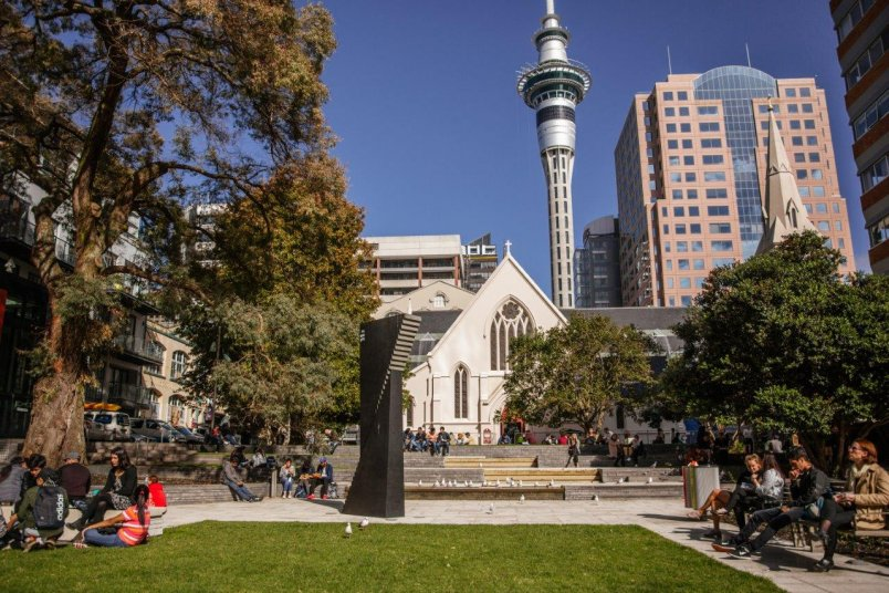 St Patrick's Square in Auckland's city centre, with public art and cathedral in view