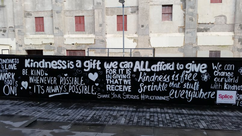 Random Acts of Kindness Day 2018 mural opposite Auckland central library. Image: Splice