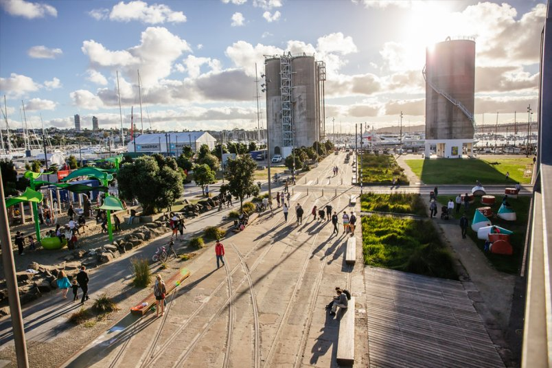 People enjoying the public space in Silo Park, in Auckland's city centre Wynyard Quarter. Image: Sacha Stejko.