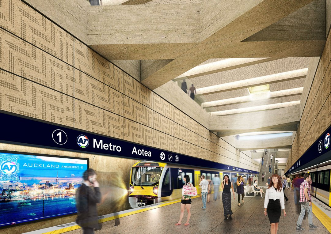 Aotea station for the City Rail Link - artist's impression showing the skylight on the concourse level. Image: cityraillink.co.nz