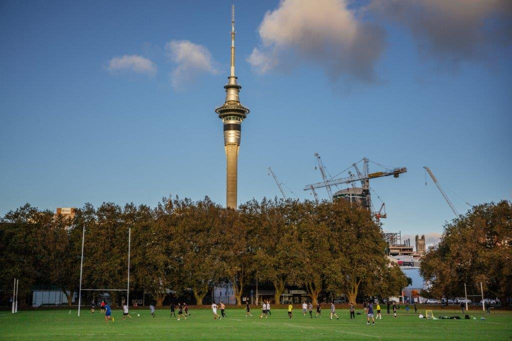 People playing football in Victoria Park, Auckland's city centre. Image: Sacha Stejko.