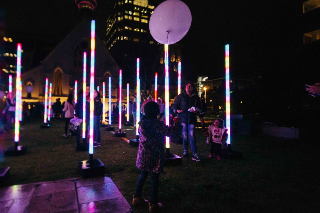 Late Night Art in the city centre 2018 - kids exploring Light Field by James Russell in St Patrick's Square, Light Field. Image: Sacha Stejko.