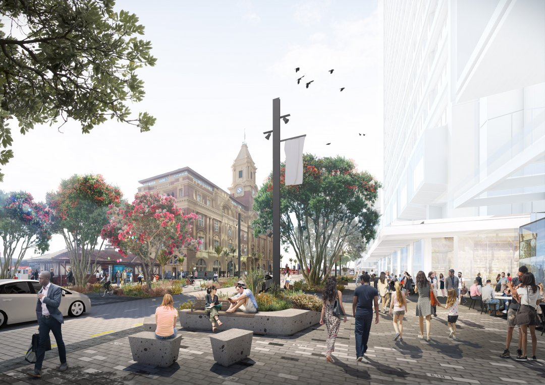 Artist's impression - Quay Street with priority given to spaces for people and less room for cars. Image: Auckland Council