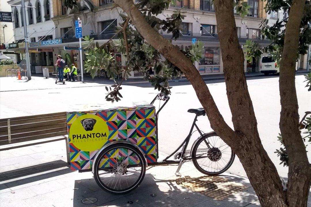 Phantom Billstickers cargo bike in Fort Street, Auckland's city centre. Image: Heart of the City